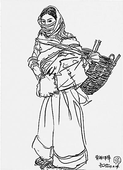 藏族速写人物图片素材