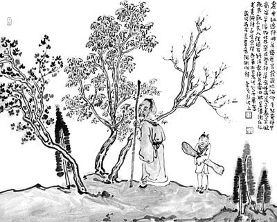 桃花源图片手绘