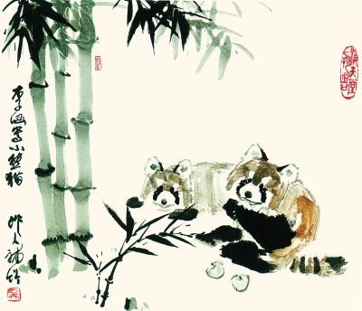 在《松鹰》《小熊猫》《蜘蛛猴》《紫藤金鱼》等许多作品中,都呈现出