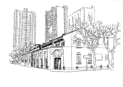 中国建筑手绘壁纸