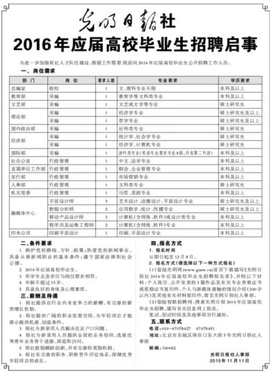 光明日报社2016年应届高校毕业生招聘启事
