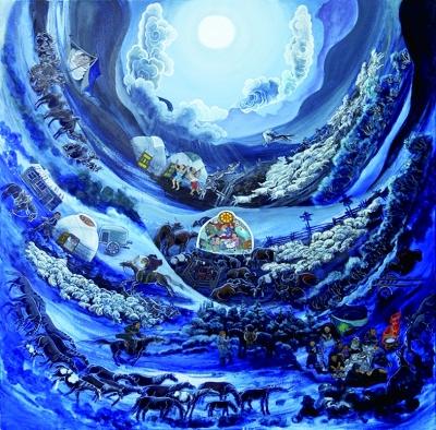 圆月亮之夜(丙烯画) 巴达木