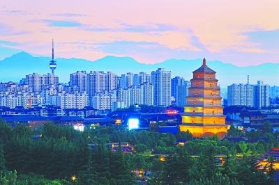 暮色下的陕西省西安市大雁塔