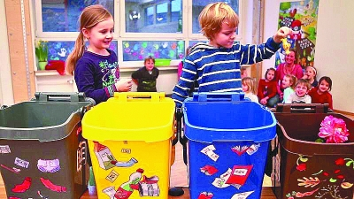 奥地利儿童学习垃圾分类.本报记者 王怀成摄/光明图片-奥地利 垃圾处